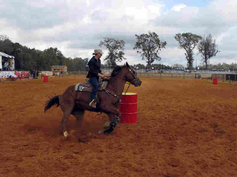 Barrel racing champion Charmayne James rides during a demonstration at a new arena in Gretna, Fla., that plans to hold wagering on the sport.