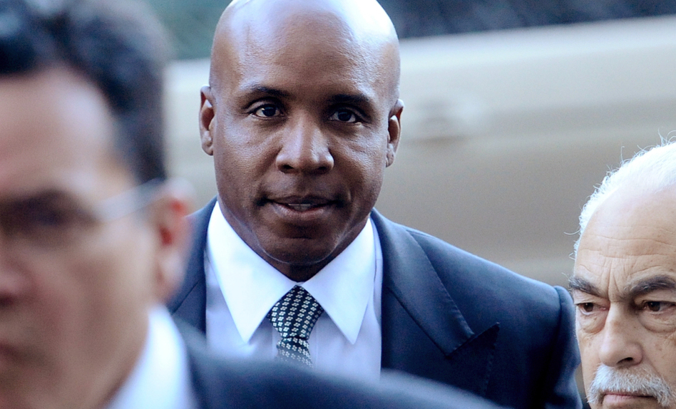 Former baseball player Barry Bonds arrives at federal court in San Francisco for sentencing.