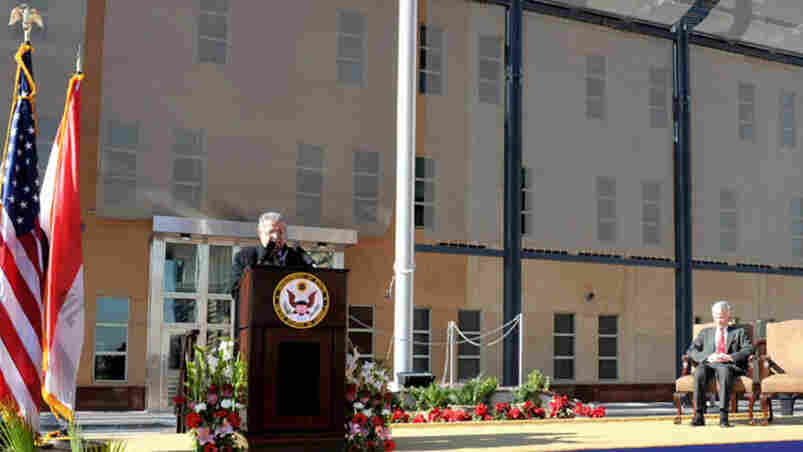 Iraqi President Jalal Talabani speaks at the opening of the huge U.S. Embassy in Baghdad on Jan. 5, 2009. It is the largest U.S. Embassy in the world.