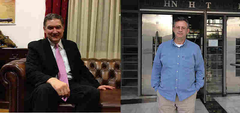 Andreas Georgiou (left) is the technocrat charged with running the Greek statistics office. Konstantinos Skordas (right) sits on a governing board for the statistics office