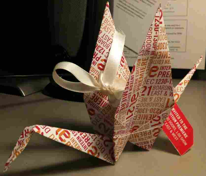 NPR Interns this fall made paper crane invitations for their premiere of Intern Edition: Beyond The Fold.