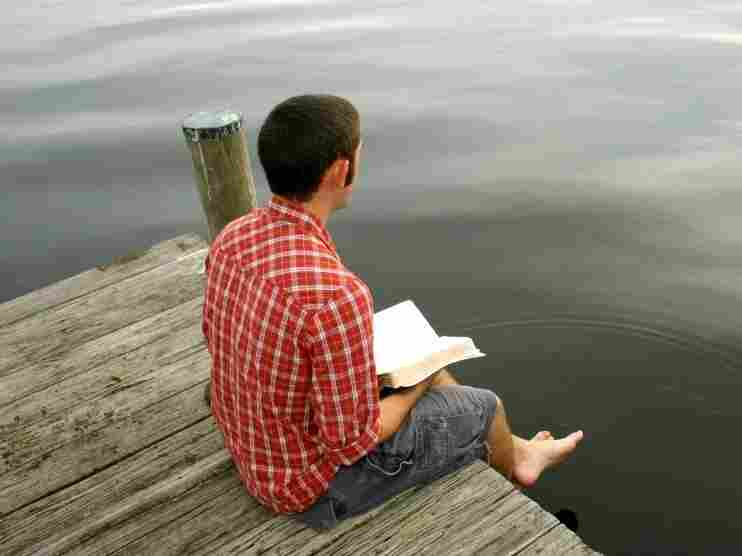 Reading on a dock