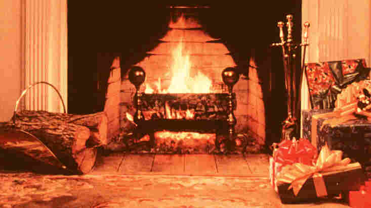 A scene from the 1970 shoot of the WPIX Yule Log in California. The movie had to be redone that year because the 16mm film from the 1966 version had deteriorated.