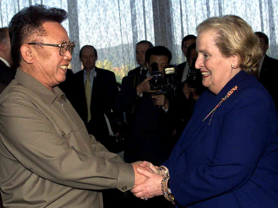 Kim Jong Il shakes hands with former U.S. Secretary of State Madeleine Albright at the Pae Kha Hawon Guest House in Pyongyang, North Korea, in 2000.
