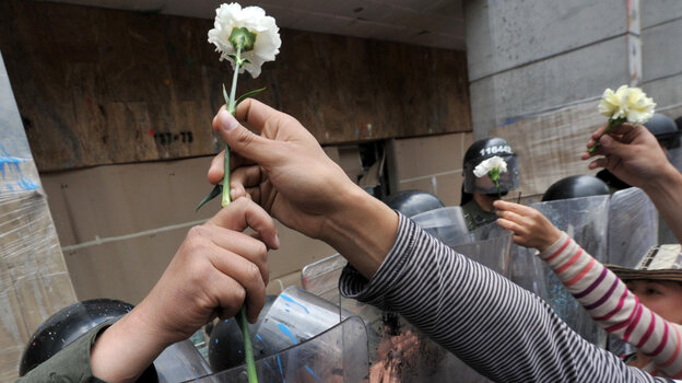 Students give carnations to riot police at Bogota's main square Plaza de Bolivar during a Nov. 10, 2011 demonstration against an education reform bill.