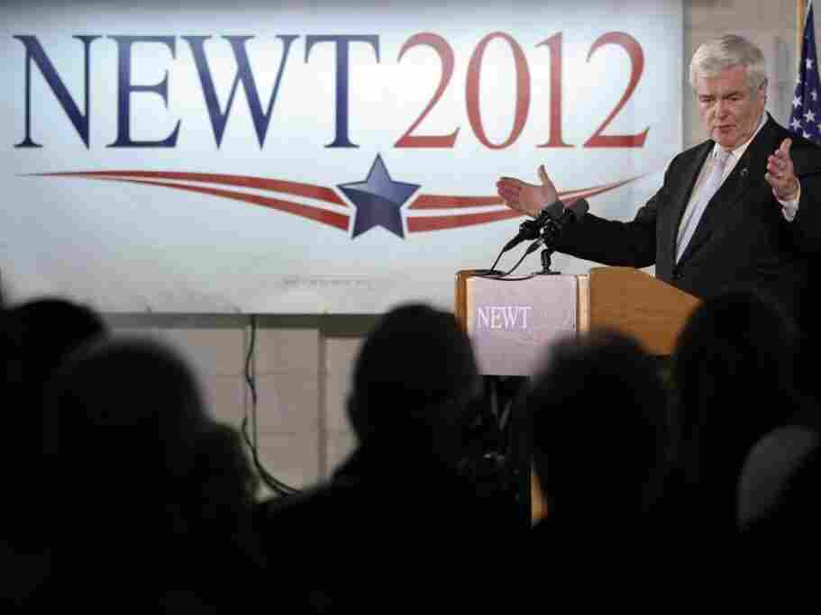 Newt Gingrich speaks Monday at Global Security Services in Davenport, Iowa. Despite falling poll numbers, Gingrich says he will avoid negative campaigning.