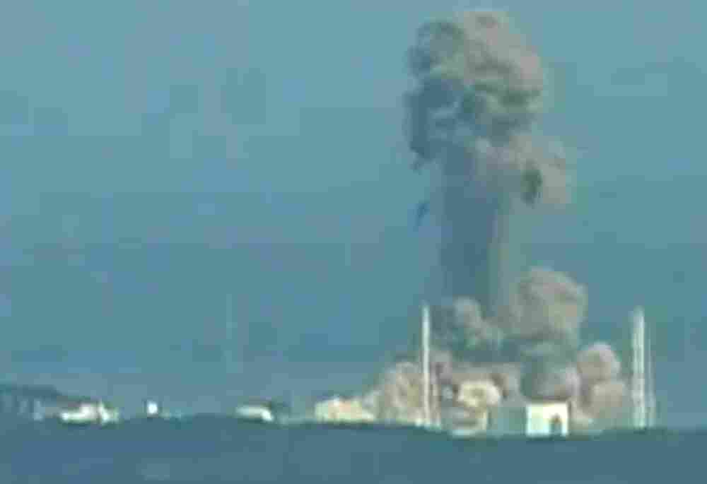 A screen grab taken from news footage by Japanese public broadcaster NHK shows the moment of a hydrogen explosion at the Fukushima Daiichi nuclear power station's No. 3 reactor on March 14.