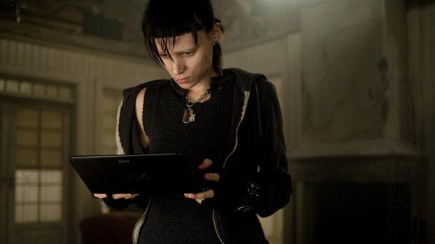 Rooney Mara plays Lisbeth Salander, the dark heroine of the American movie adaption of the Swedish novel The Girl with the Dragon Tattoo.