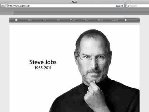 A screen grab shows Apple's website on the day of Steve Jobs' death.