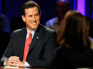 Former U.S. Sen. Rick Santorum listens during a presidential debate Oct. 11 at Dartmouth College in Hanover, N.H.