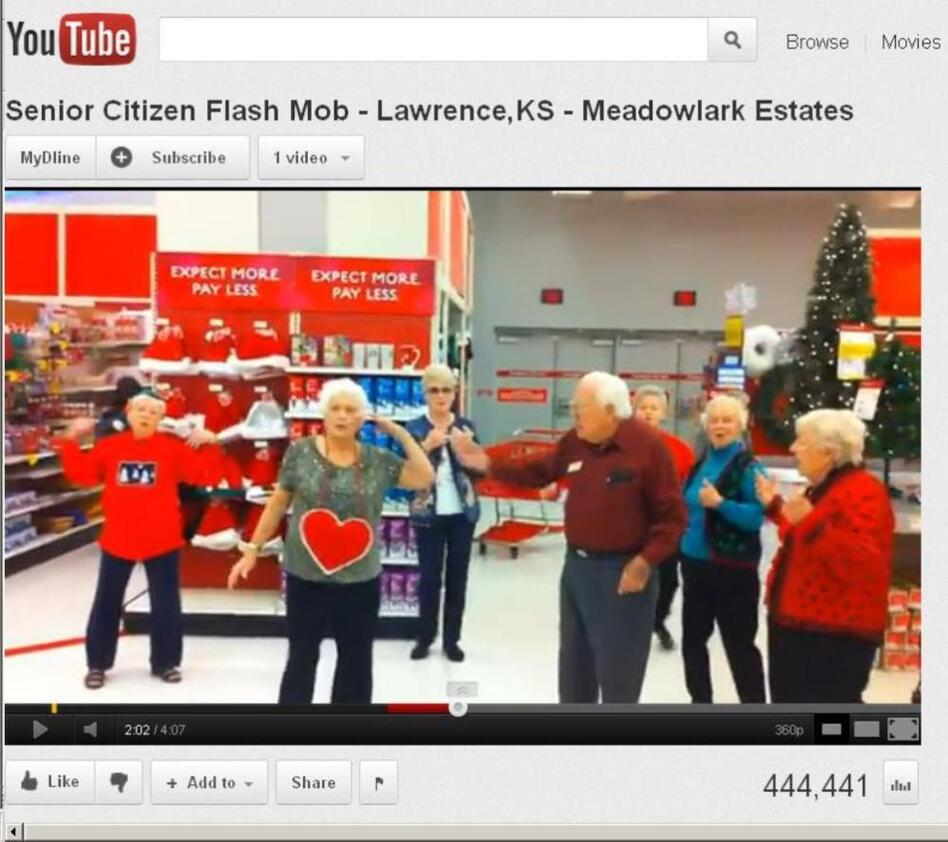 The senior citizens flash mob in Kansas.