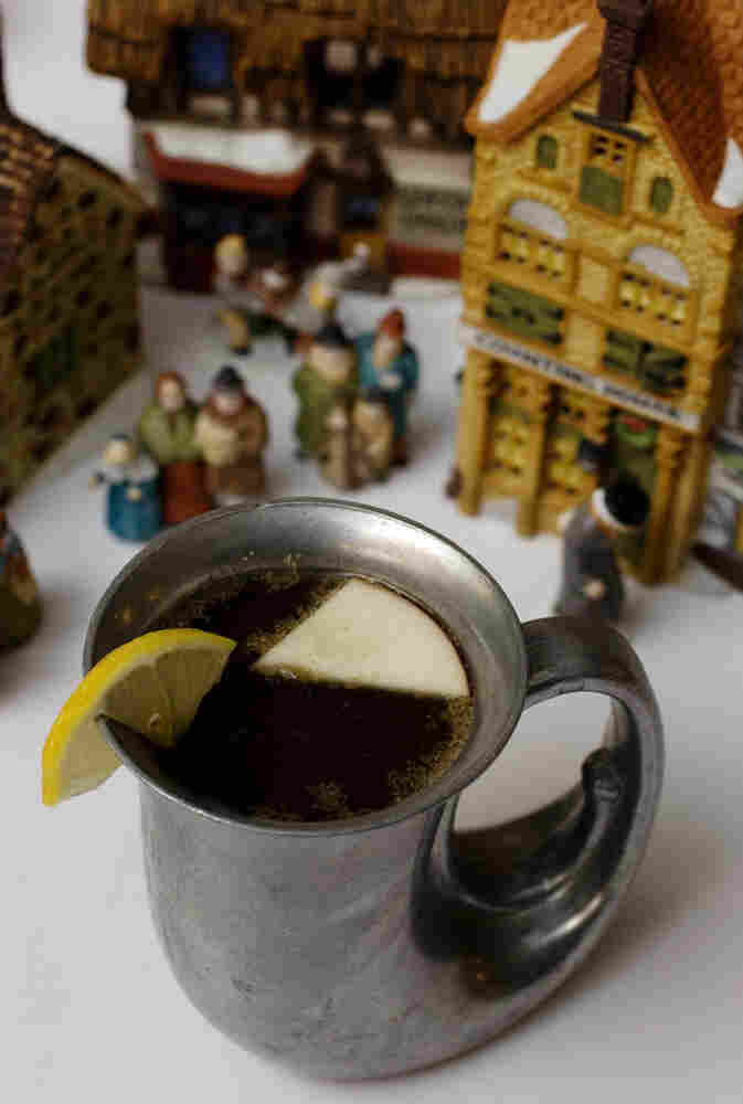 A cup of wassail, a warm mulled drink.