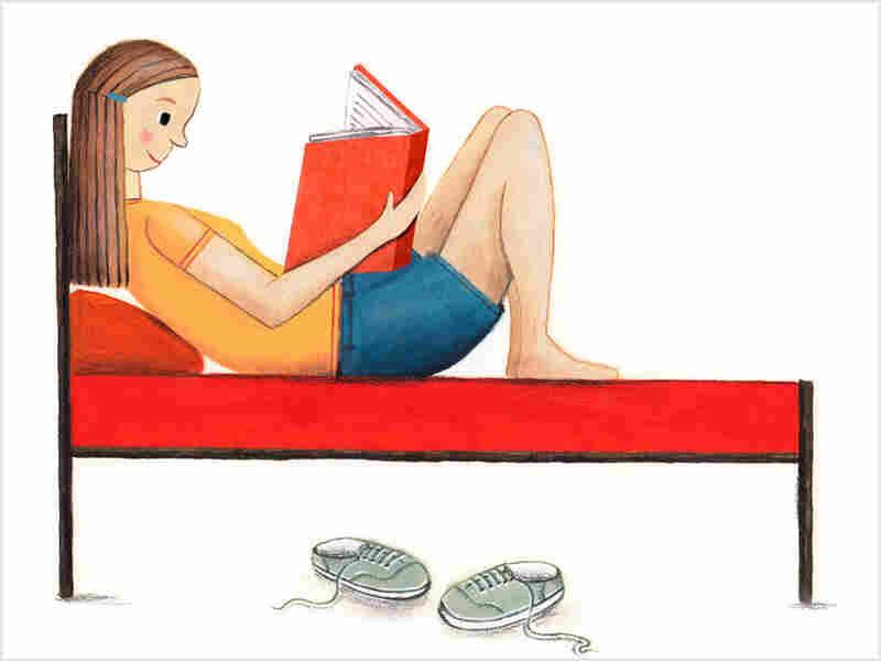Teen reads a book