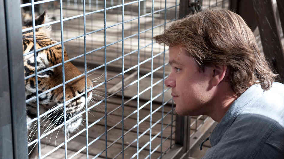 Matt Damon gets up close and personal with one of his new four-legged family members in We Bought A Zoo.