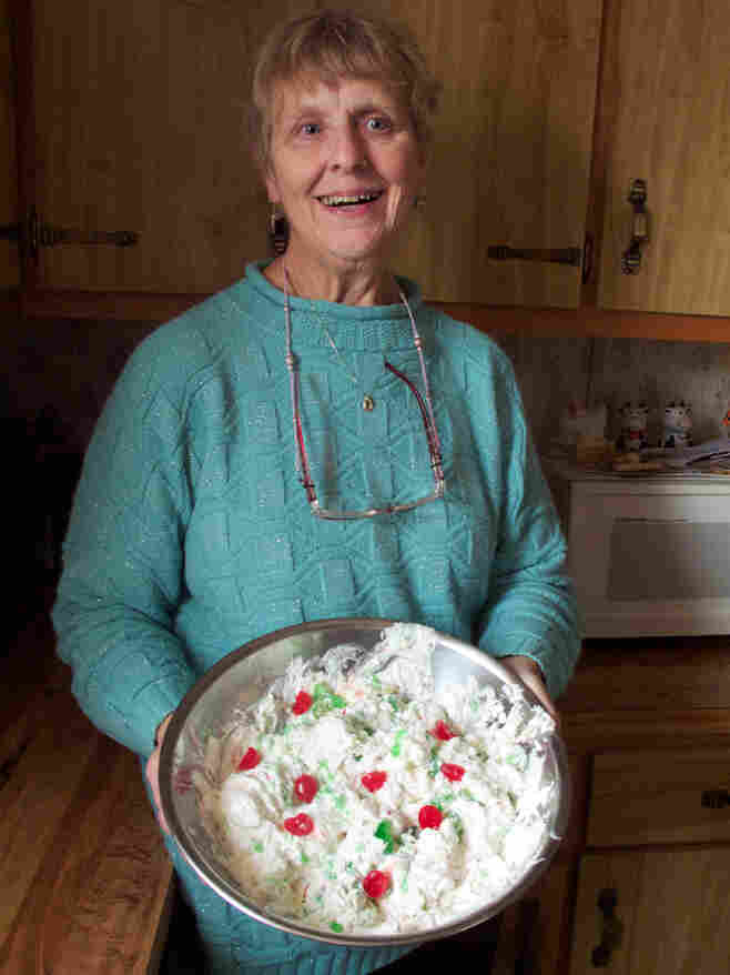 Esther Griffin and her Christmas ambrosia salad.