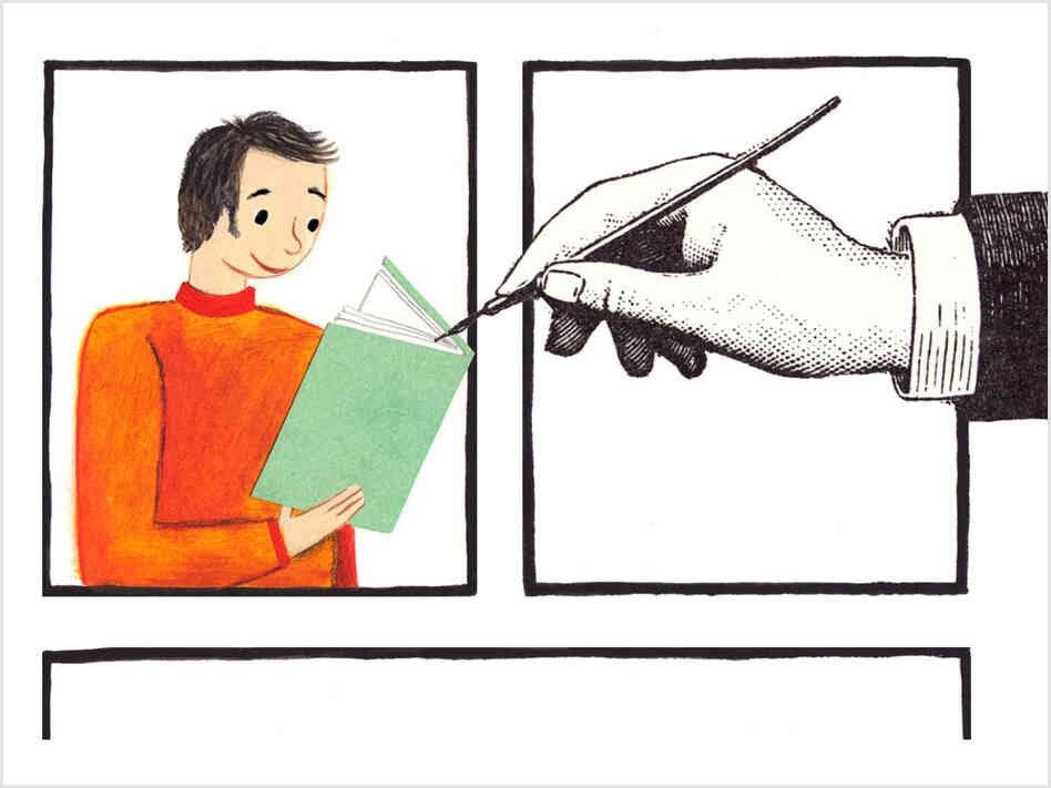 Illustration: a hand drawing a man reading a book.