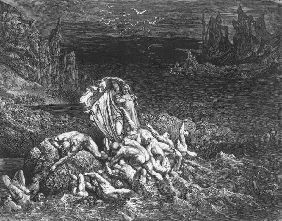 Hell was much written and thought about in 2011. In this 18th century engraving accompanying Dante's Inferno, Virgil leads the poet past souls writhing in torment in the River Styx.