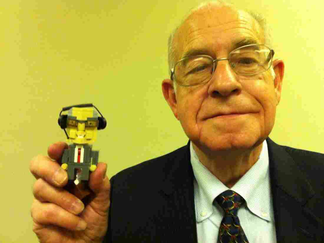 Carl Kasell with personalized LEGO person made by Dave Kaleta.
