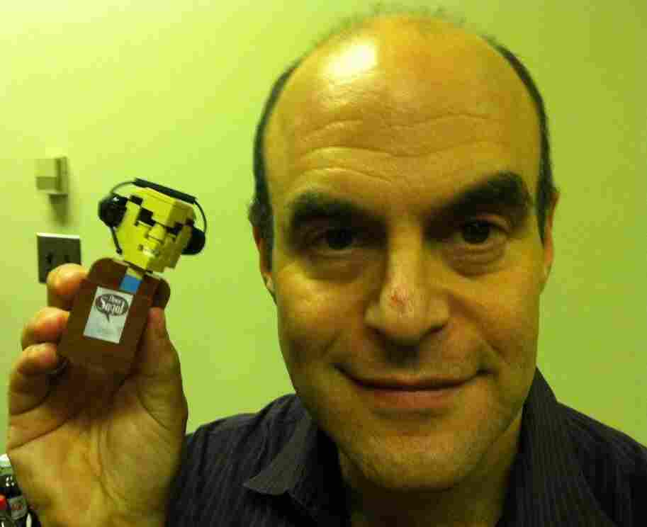 Peter Sagal with personalized LEGO person made by Dave Kaleta.