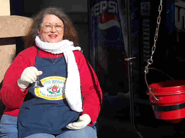 Lynn Smith has been ringing a Salvation Army bell since Thanksgiving outside a grocery store in Ventura, Calif. A former travel agent, she works eight hours a day for minimum wage.