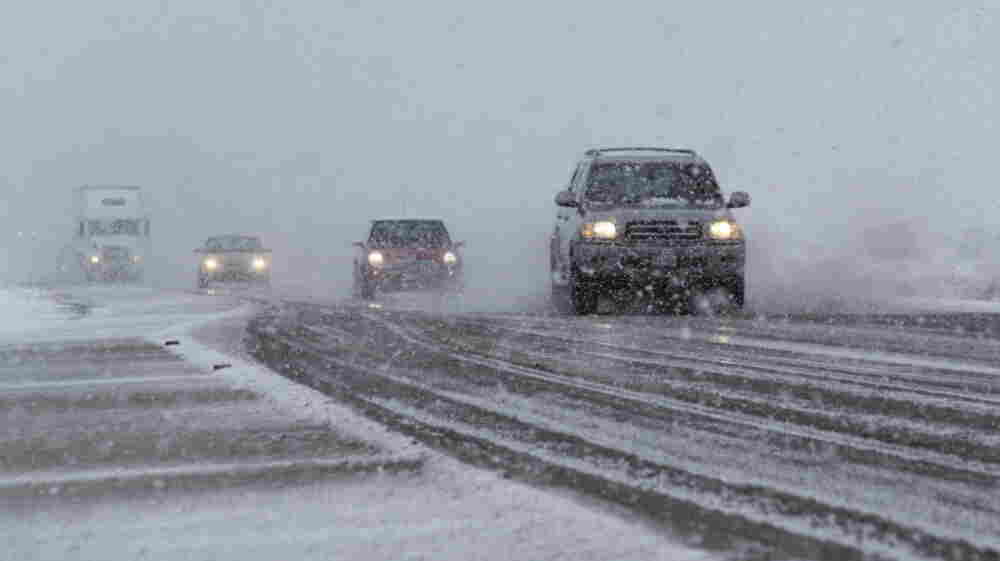 It's slick out there: The scene Monday along U.S. 550 near Rio Rancho, N.M.