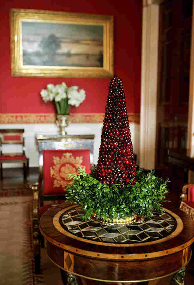 One of the decorations in the Red Room of the White House, where David Bondarchuck was among the volunteer decorators.