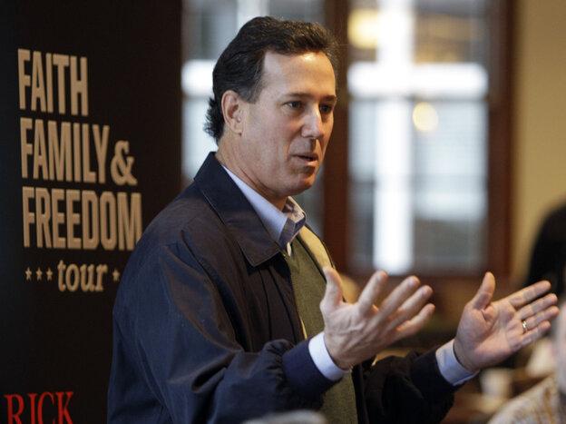 Rick Santorum in Pella, Iowa, Tuesday, Dec. 20, 2011.