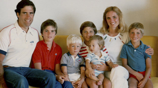 This 1982 family photo provided by the Romney campaign shows the Romney family during summer vacation: from left, Mitt, Tagg, Ben, Matt, Craig, Ann and Josh Romney. Seamus, unfortunately, is not pictured. His fateful voyage to Canada occurred the following summer. (AP)