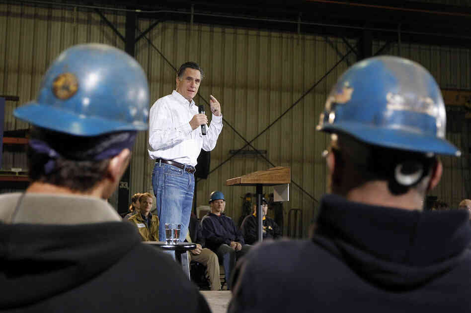 Former Massachusetts Gov. Mitt Romney speaks during a rally at Missouri Valley Steel in Sioux City, Iowa, Friday, Dec. 16, 2011.