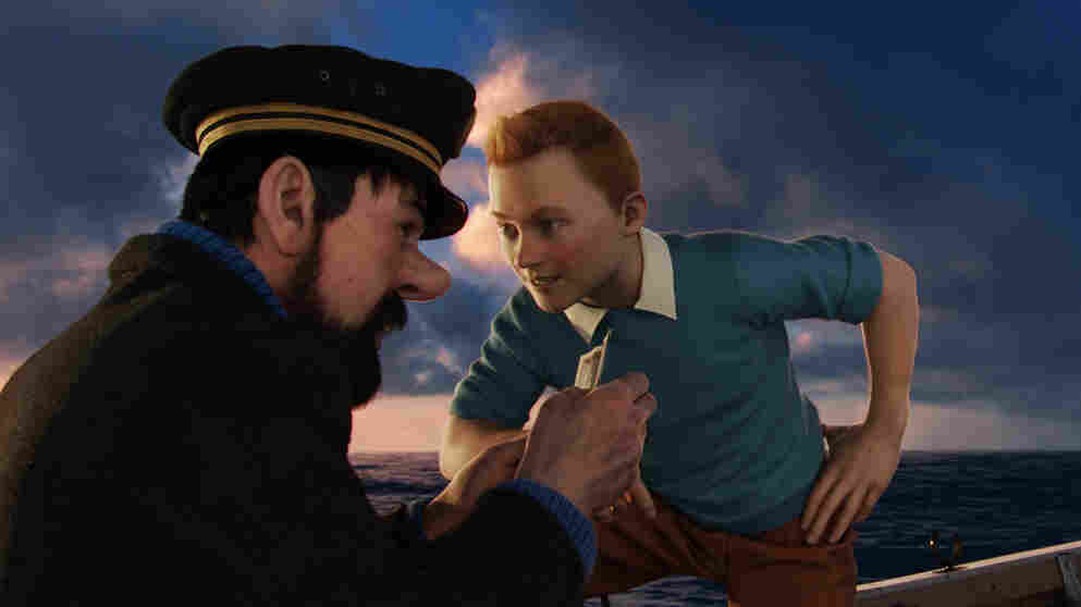 Captain Haddock (Andy Serkis, left) and Tintin (Jamie Bell) chase fortune and treasure in The Adventures of Tintin.