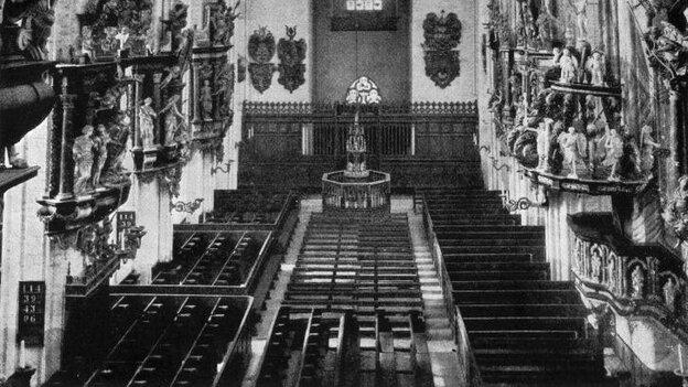 The interior of the renowned Marienkirche church, where Johann Sebastian Bach's Christmas Oratorio is traditionally performed.