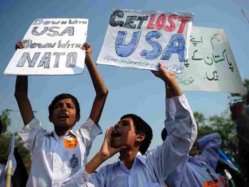 Students shout anti-U.S. slogans during a protest in Karachi this month. Pakistanis say that NATO force deliberately killed Pakistani soldiers last month, while the Americans have called it a tragic accident.