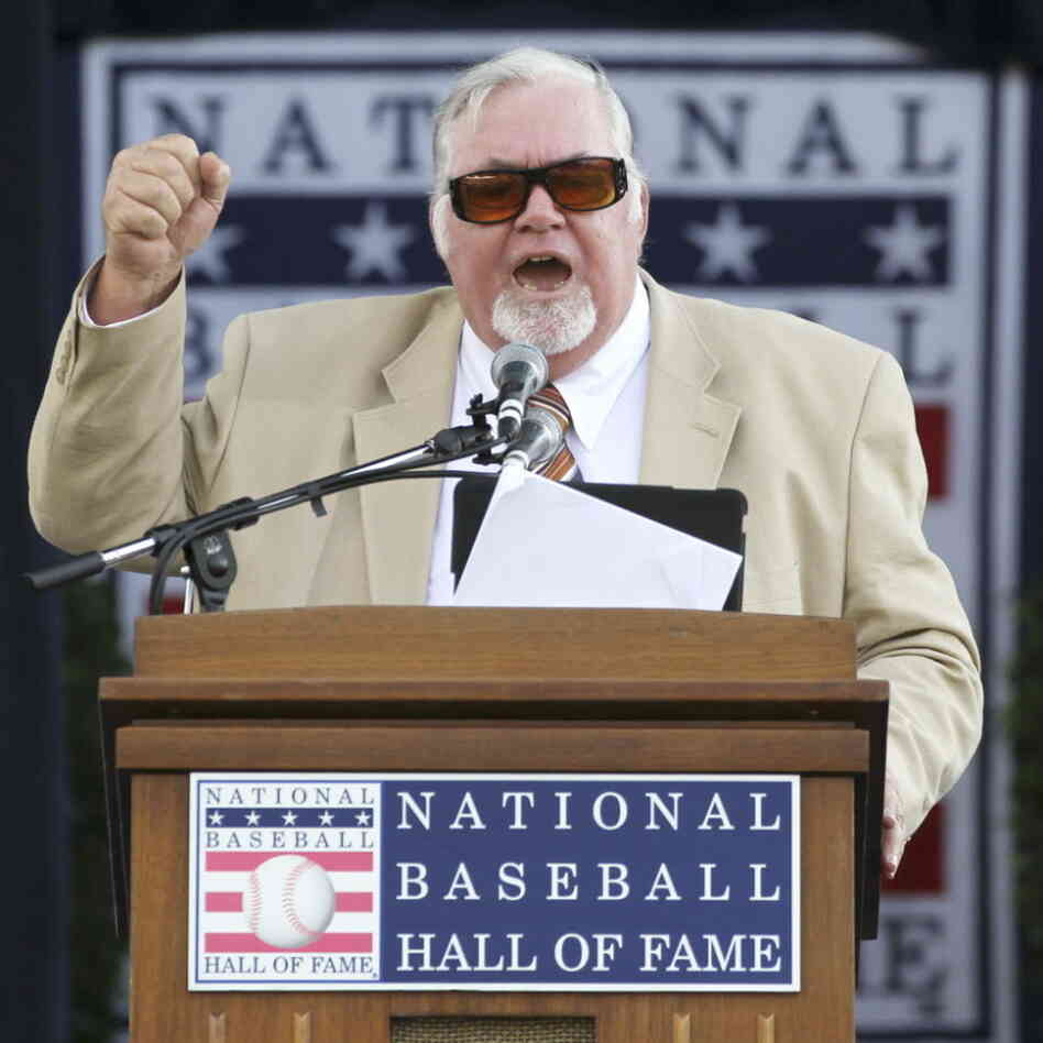 July 23, 2011: Sportswriter Bill Conlin speaking at the National Baseball Hall of Fame.