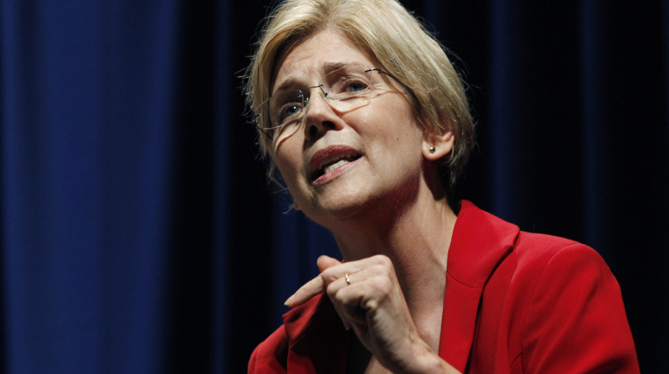 "Elizabeth Warren speaks in October during a debate for the U.S. Senate seat in Massachusetts held by Republican Scott Brown. The race has become a contest of who is the ""real"" populist. (AP)"