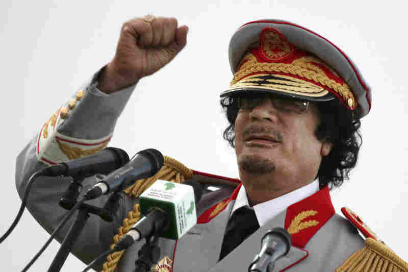 Moammar Gadhafi ran Libya for more than four decades before he was driven from power in August and was killed on Oct. 20. This photo is from a June 2010 speech in the capital Tripoli.