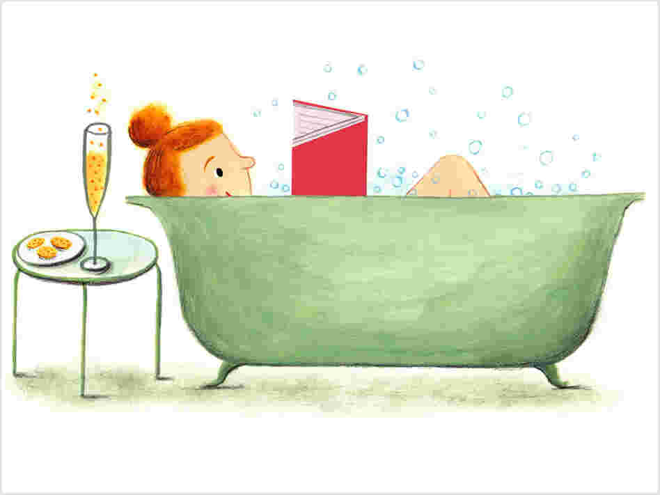 Illustration: A woman reads a book in the bathtub.