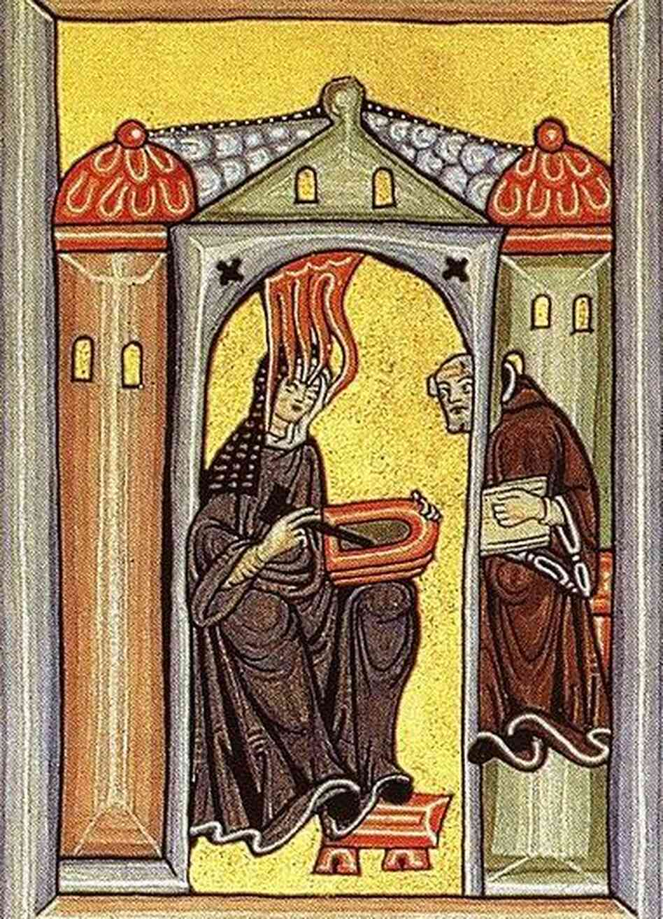 An image of the Holy Spirit-inspired Hildegard and her scribe from the Rupertsberg Codex des Liber Scivias, c. 1180.