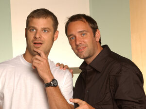 While in college, Matt Stone (left) and Trey Parker wrote and directed a black comedy called Cannibal! The Musical. A Fox executive saw the film and commissioned the duo to create an an