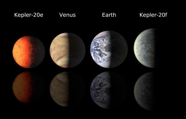 A NASA illustration comparing the newly discovered planets to Venus and Earth. Kepler-20e is slightly smaller than both Venus and Earth. Kepler-20f is slightly larger.