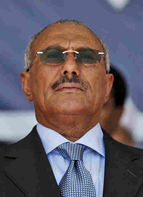 Yemeni President Ali Abdullah Saleh resigned on Nov. 23 after more than 30 years in power. Here, he looks out over a gathering of his supporters at a soccer stadium in Sanaa, Yemen, on March 10.