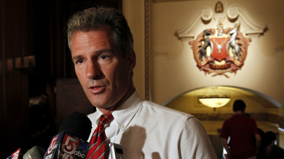 Sen. Scott Brown addresses reporters at a Boston hotel in August. Brown won the seat in a 2010 special election in large part by contrasting himself with the Kennedy dynasty. (AP)