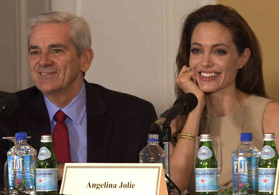 Tom Gjelten and Angelina Jolie at the New York press conference for In The Land of Blood and Honey.