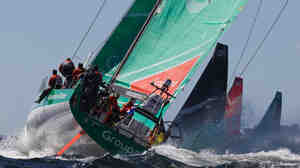 "The Groupama Sailing Team (shown here on Dec. 10 near Cape Town, South Africa) is somewhere out ahead in the ""stealth zone."""