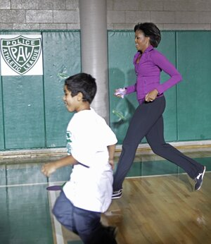 "First Lady Michelle Obama at an anti-obesity ""Let's Move"" event in New York City, Nov. 2010."