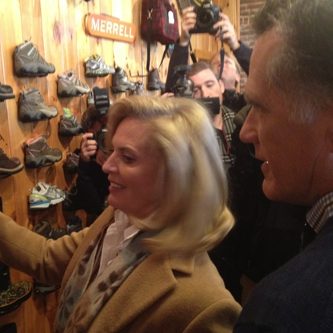 Romney and his wife, Ann, checked out red boots in Lancaster, N.H.