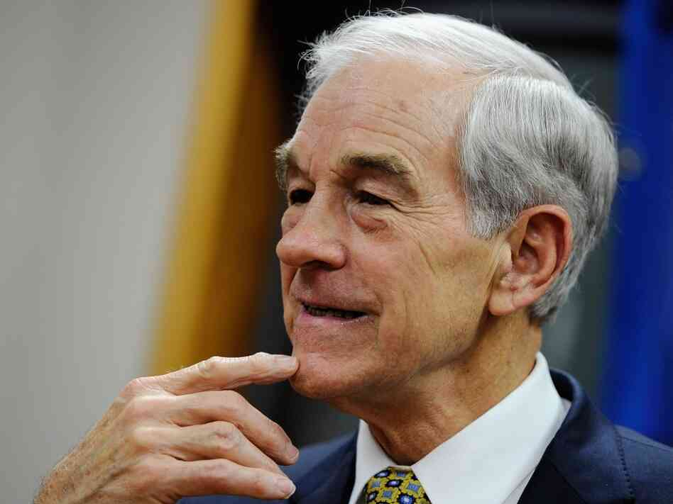Republican presidential candidate Rep. Ron Paul (R-TX) speaks at a town hall meeting at the Erickson Public Library during a campaign stop on Dec. 8, 2011 in Boone, Iowa.