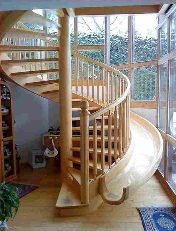 A staircase slide.