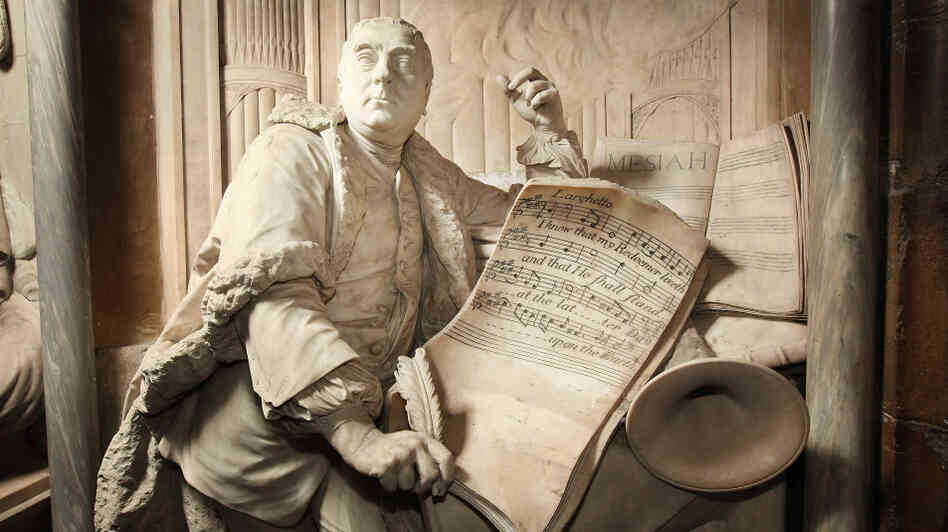 A statue of George Frideric Handel, posing with his Messiah transcript, at London's Westminster Abbey.