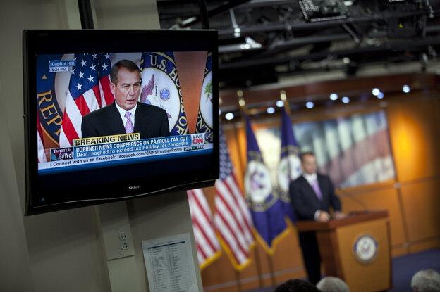 House Speaker John Boehner announces a payroll tax cut extension agreement, December 22, 2011.