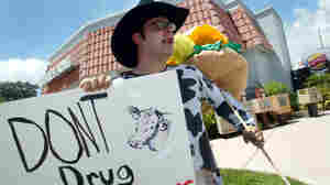 Adrian Mesa protests the overuse of antibiotics in meat production outside a Burger King in Coral Gables, Fla. in 2003.